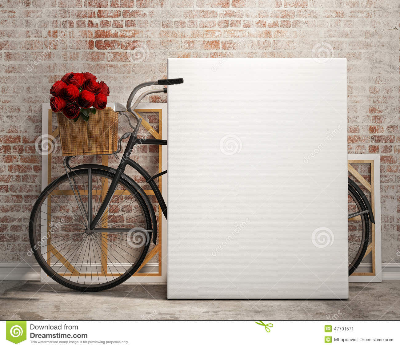 Mock Up Poster In Loft Interior Background With Bicycle