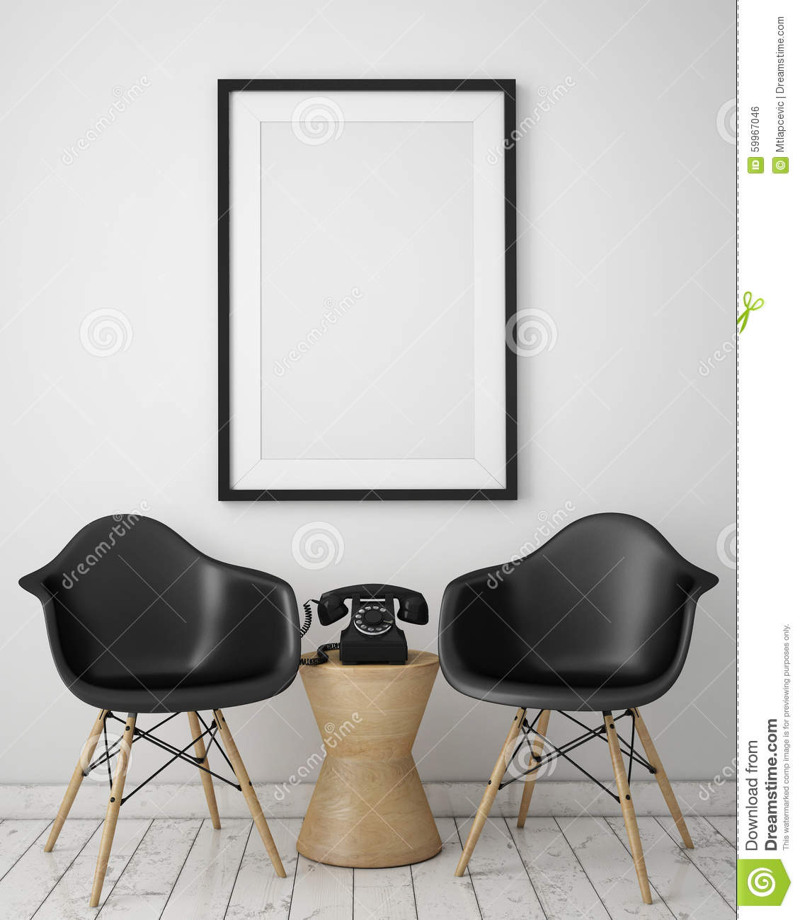 Mock Up Poster With Loft Interior Background Stock Photo