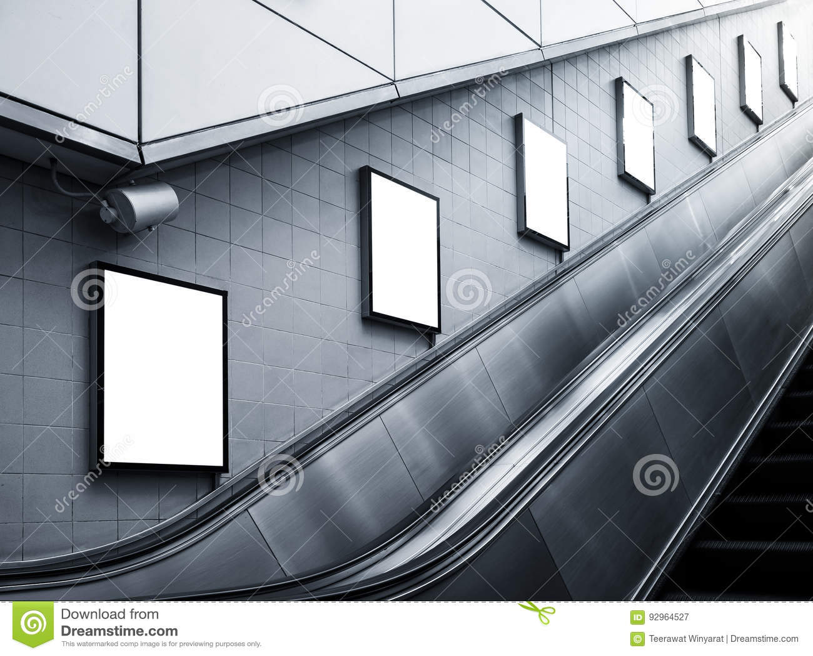 Mock Up Poster Media Ads Escalator Side Subway Station Stock Image