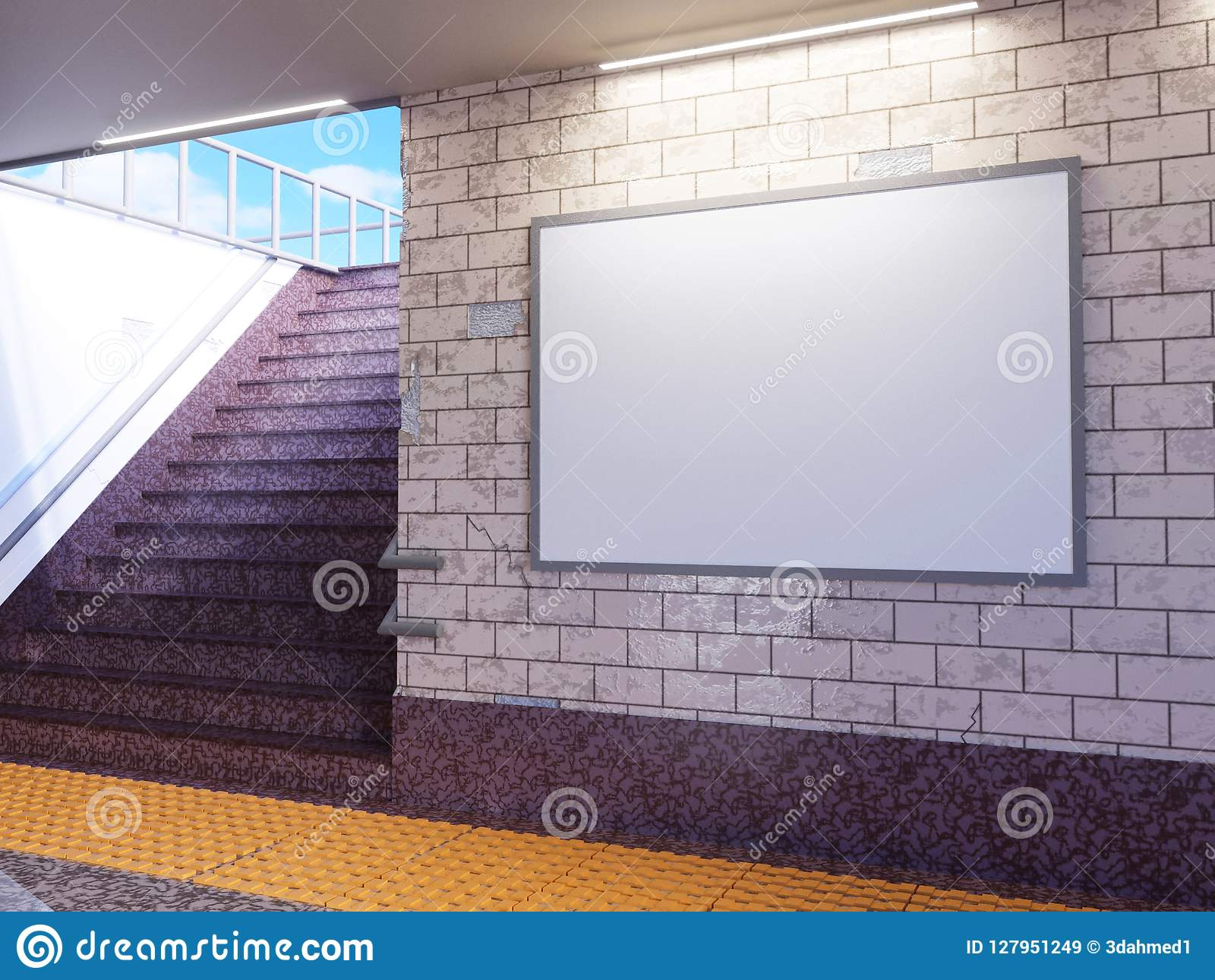 Mock Up Poster Media Template Ads Display In Subway Station