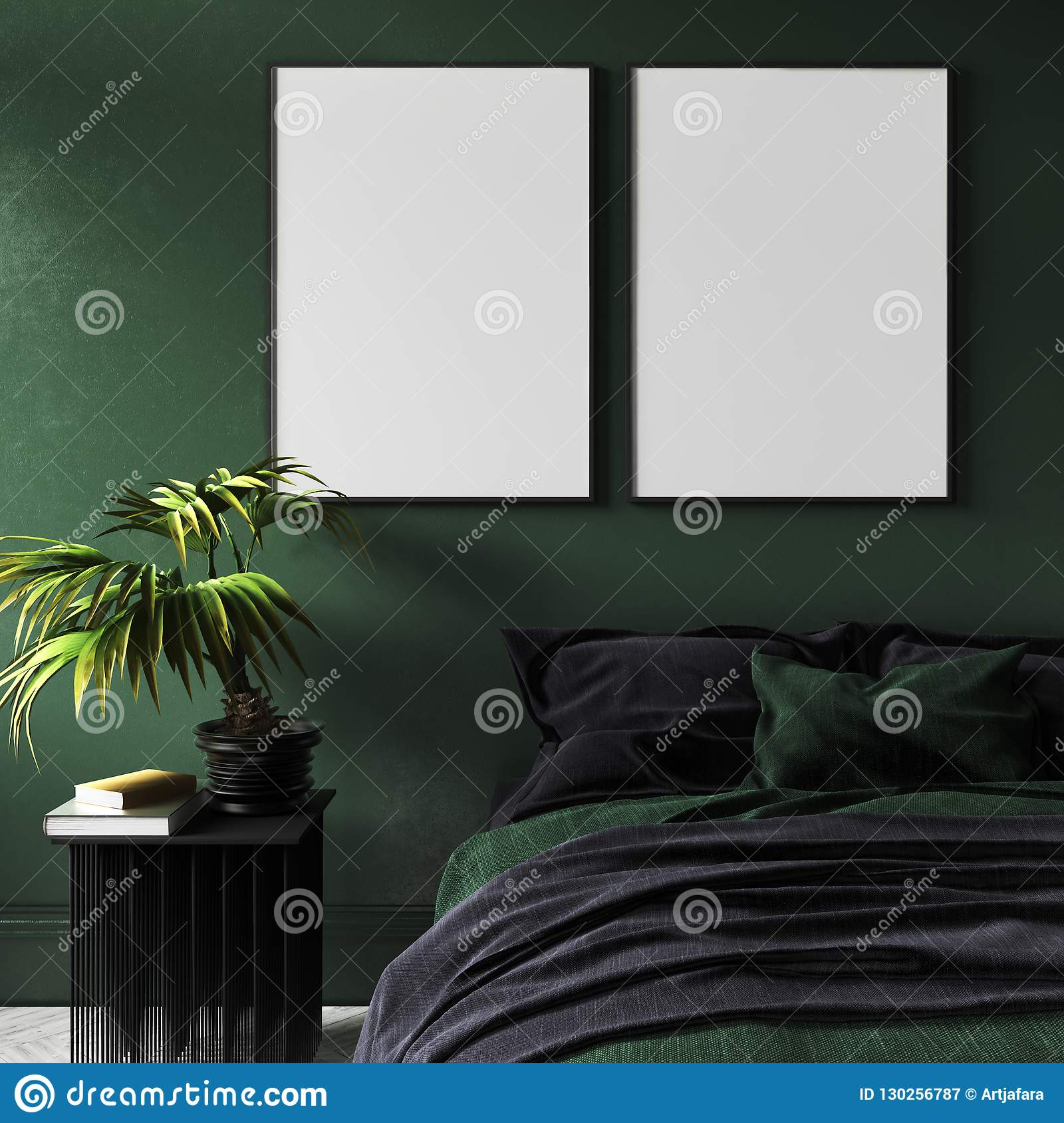 Mock-up poster in modern dark green bedroom interior with potted plant on table