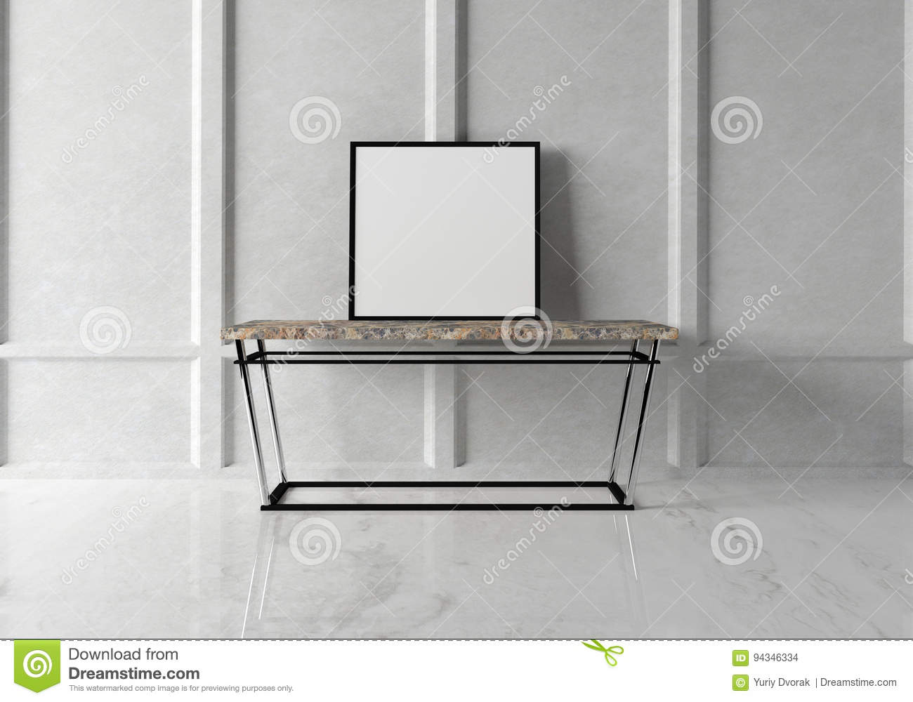 Mock up poster in the modern interior with a console marble table. 3D rendering