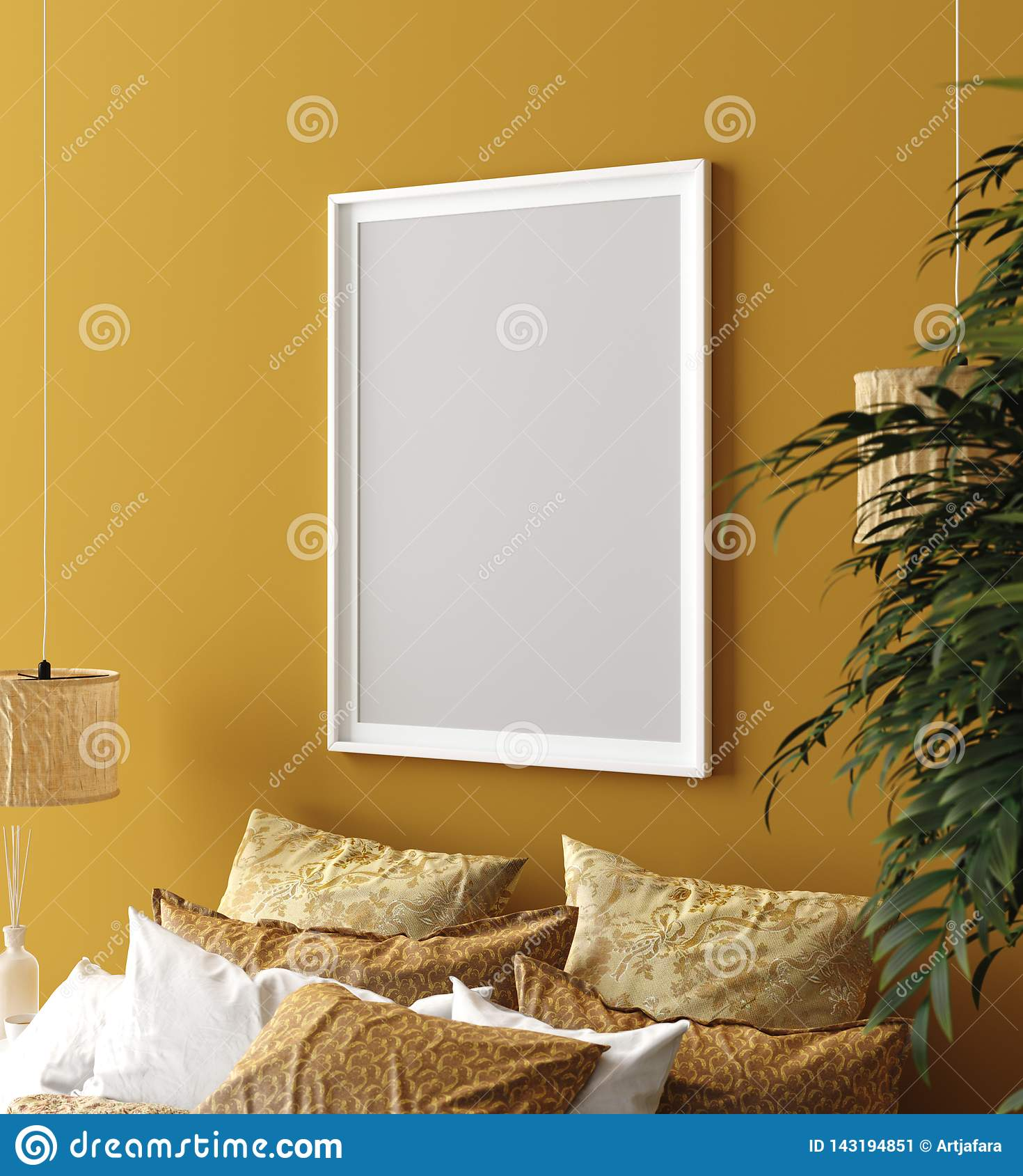 Mock Up Poster Mustard Color Bedroom Interior With