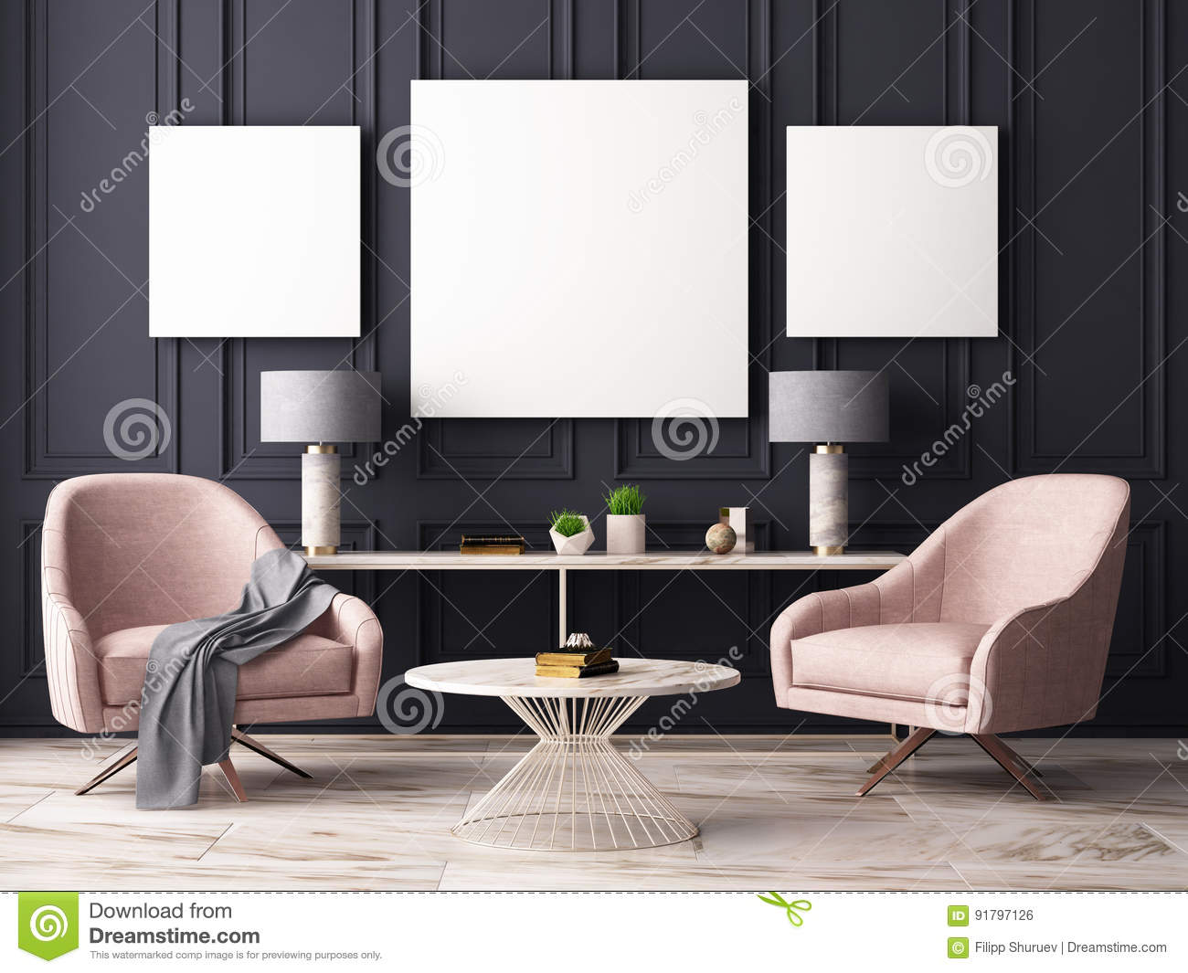 Mock Up Poster In A Pastel Interior With Armchairs And A Table. 12D