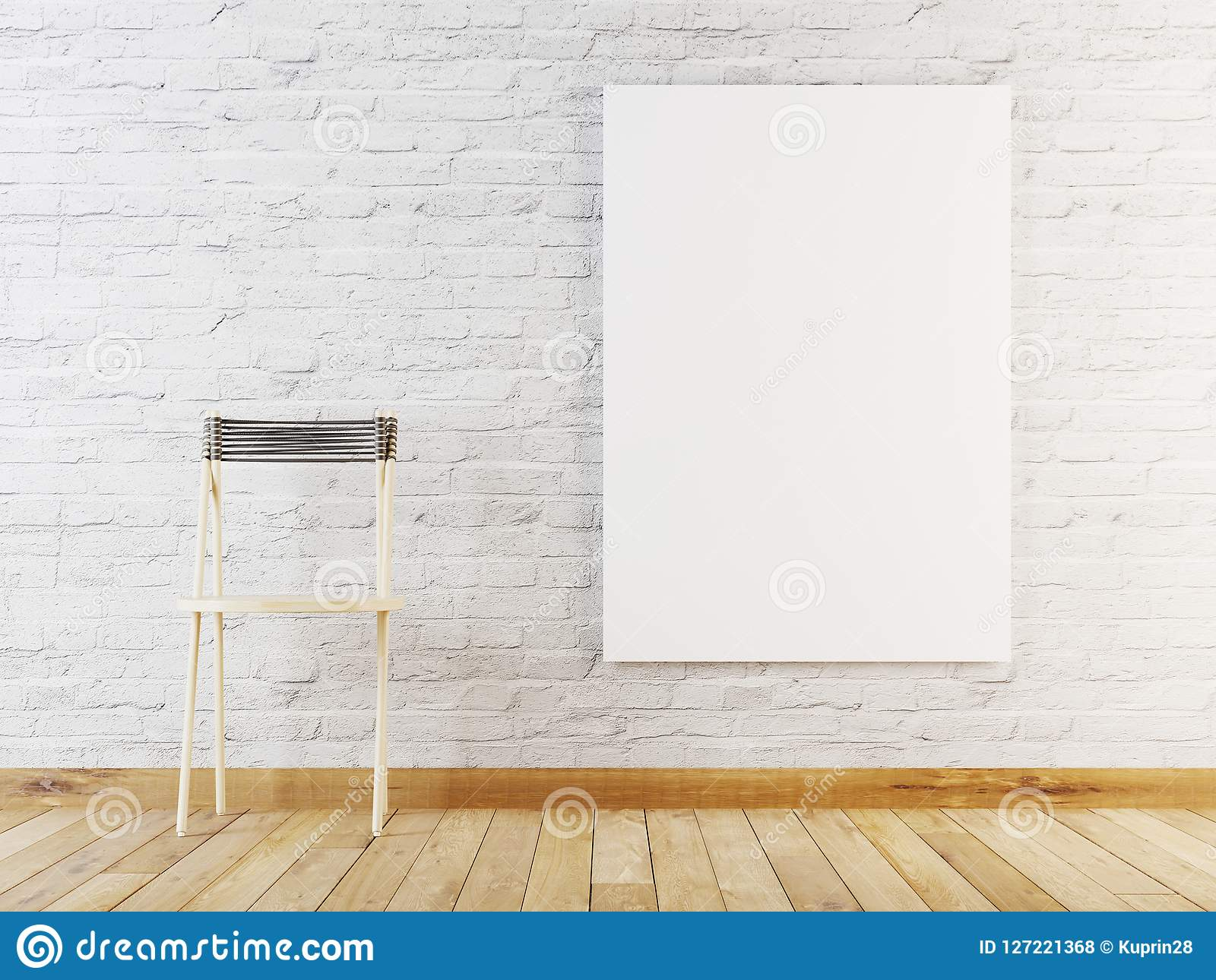 Mock up poster in room, Scandinavian style interior background