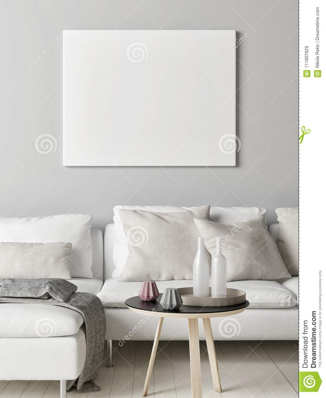 Mock Up Poster In Scandinavian Living Room, Your Artwork Here, Stock ...