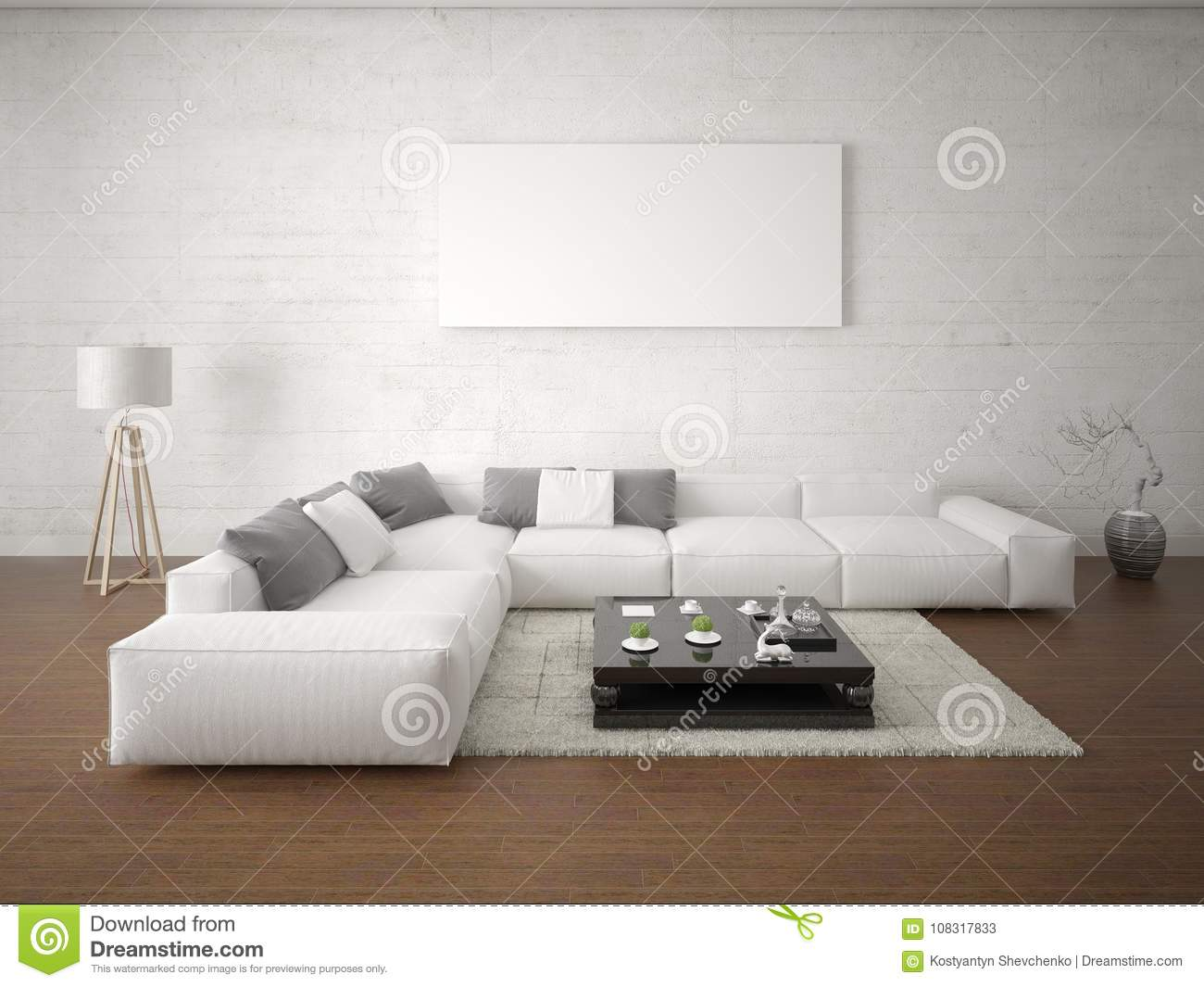 Good Mock Up Poster Spacious Living Room With Corner Light Sofa.