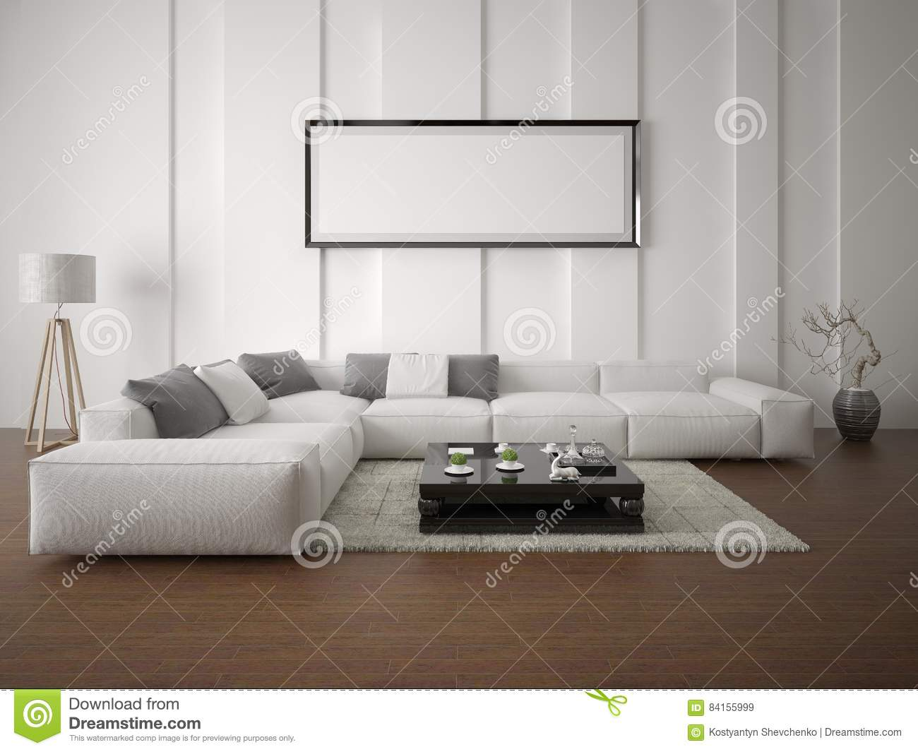 Mock Up Poster Spacious Living Room With A Corner Sofa. Stock ...