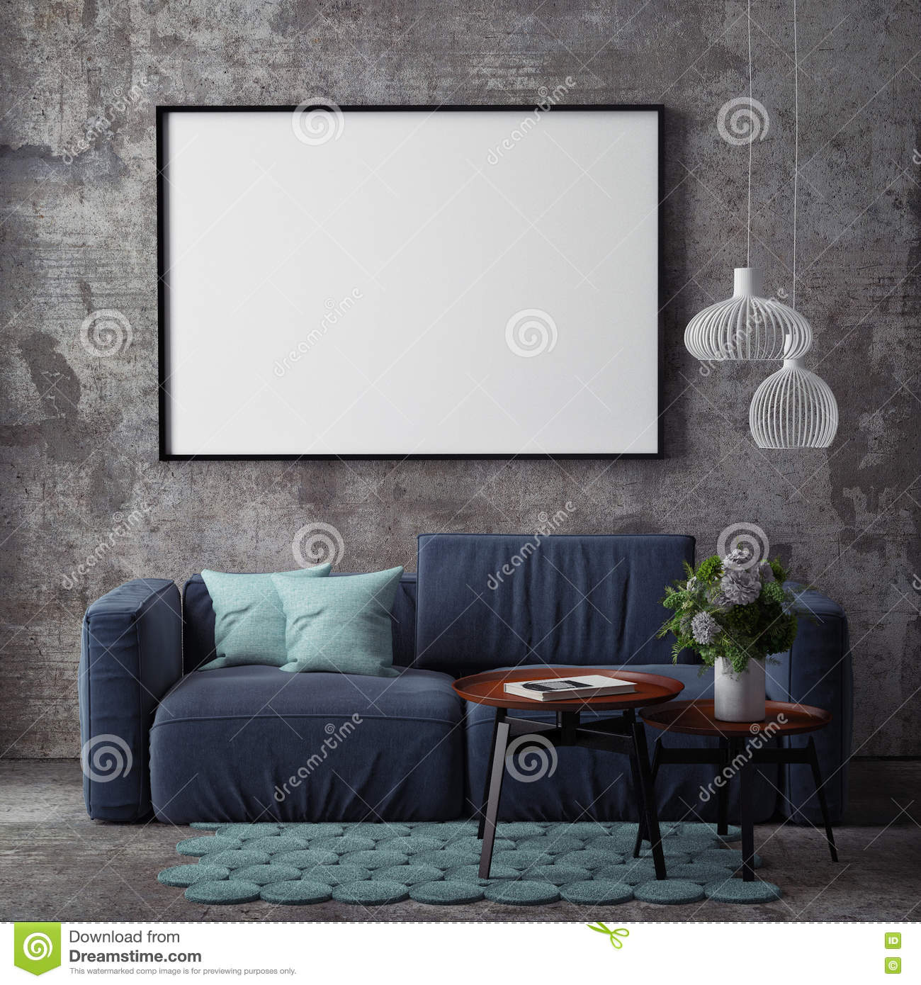 Mock up poster with vintage hipster loft interior background,