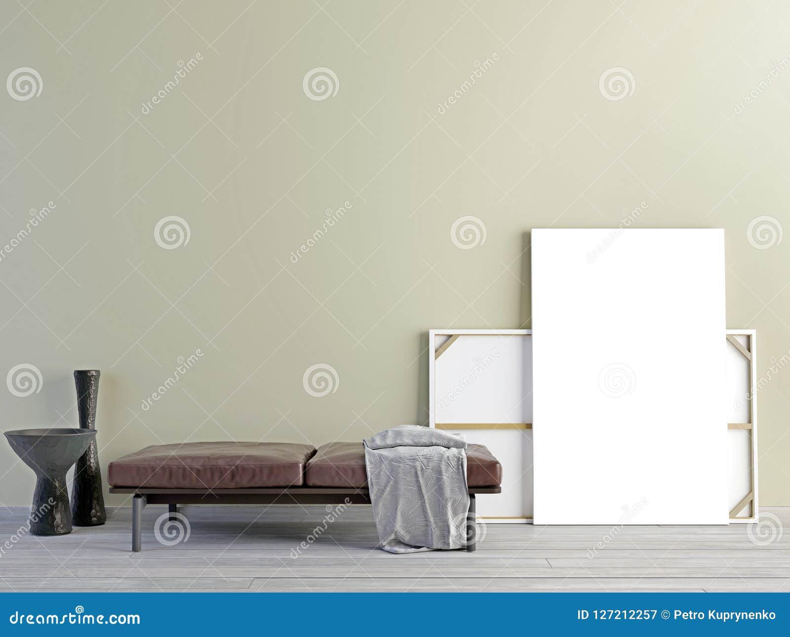 Mock Up Poster With Vintage Pastel Hipster Minimalism Loft Inter ...