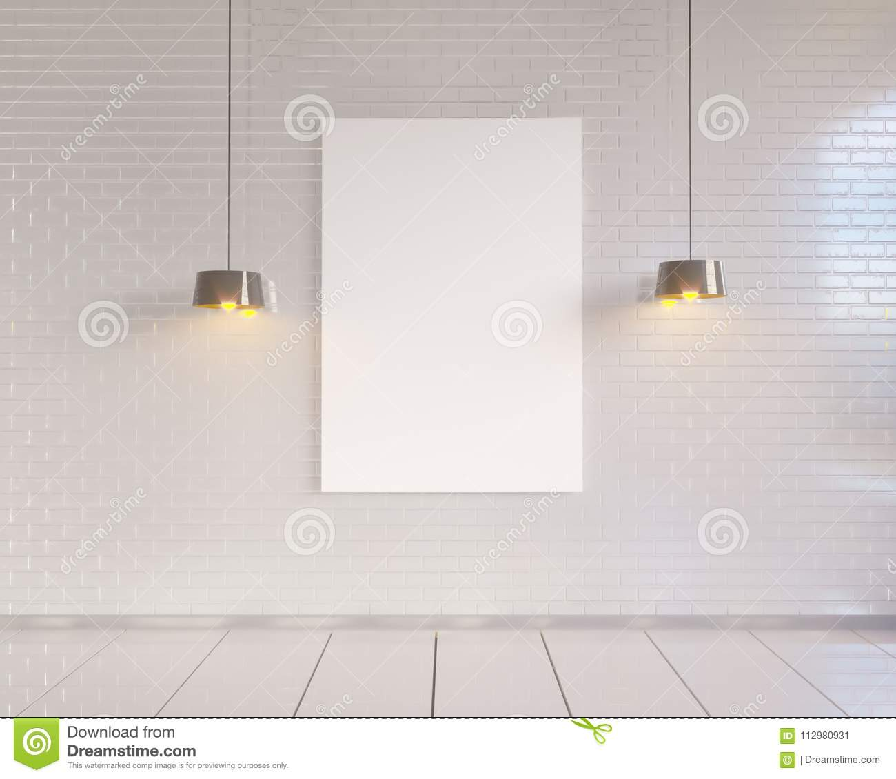 Mock up poster with vintage pastel hipster minimalism loft interior background, 3D rendering