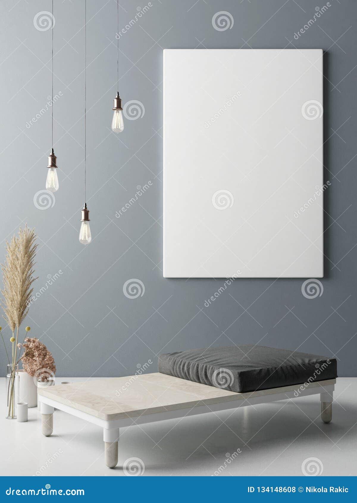 Mock up poster on wall, Minimalism interior design