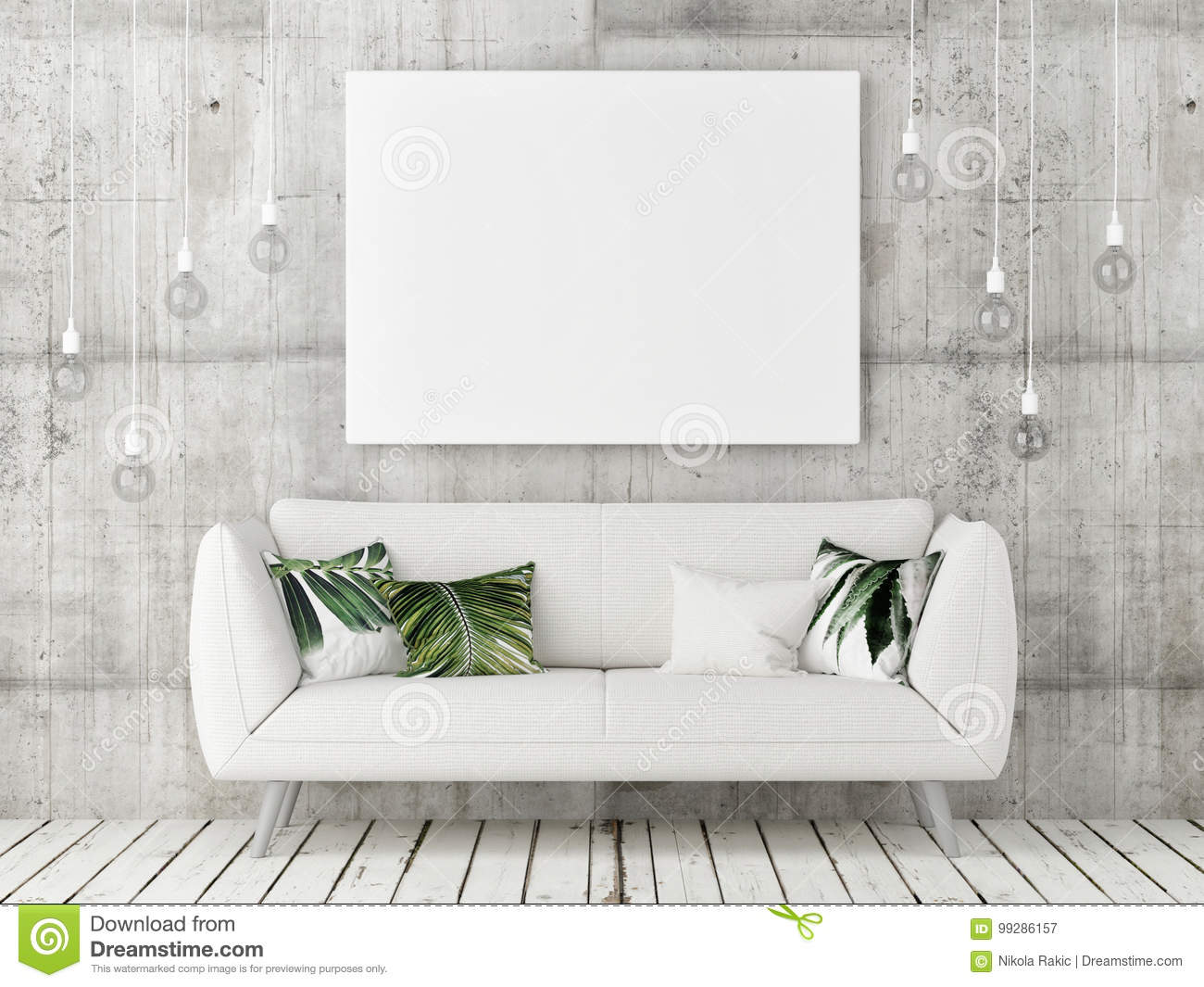 Miraculous Mock Up Poster With White Sofa Minimalism Design Stock Unemploymentrelief Wooden Chair Designs For Living Room Unemploymentrelieforg