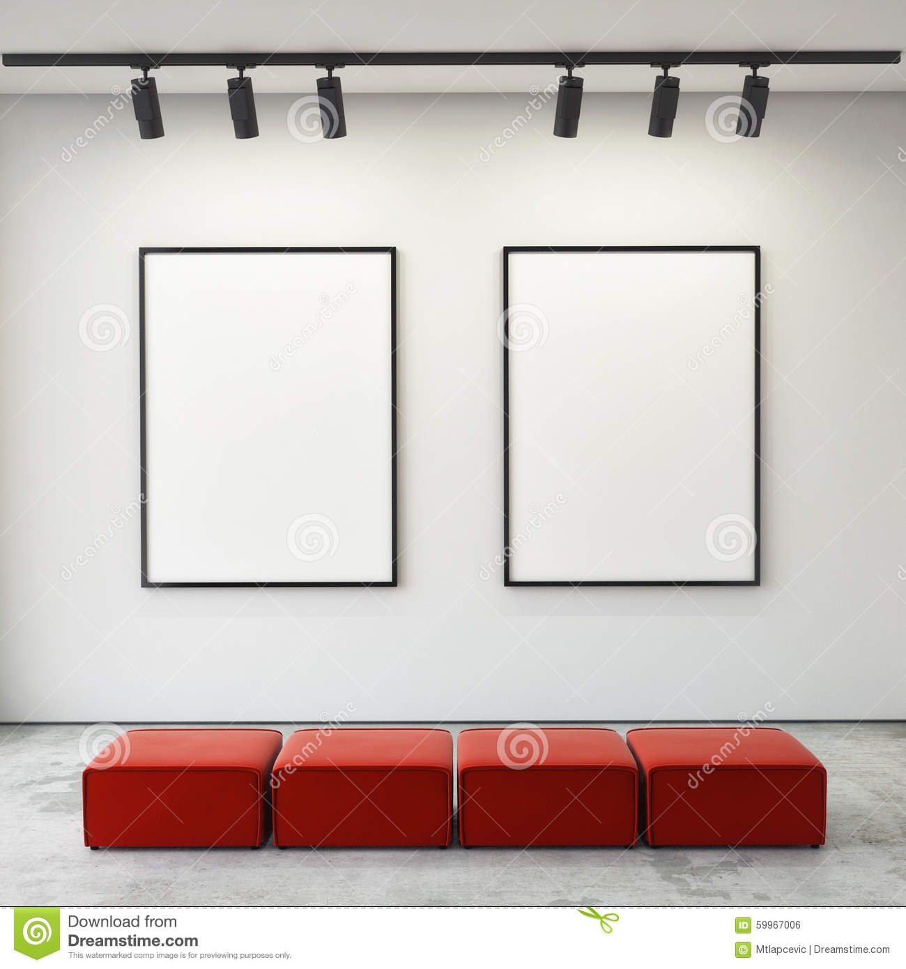 Mock Up Posters Frames And Canvas In Gallery Interior Background ...