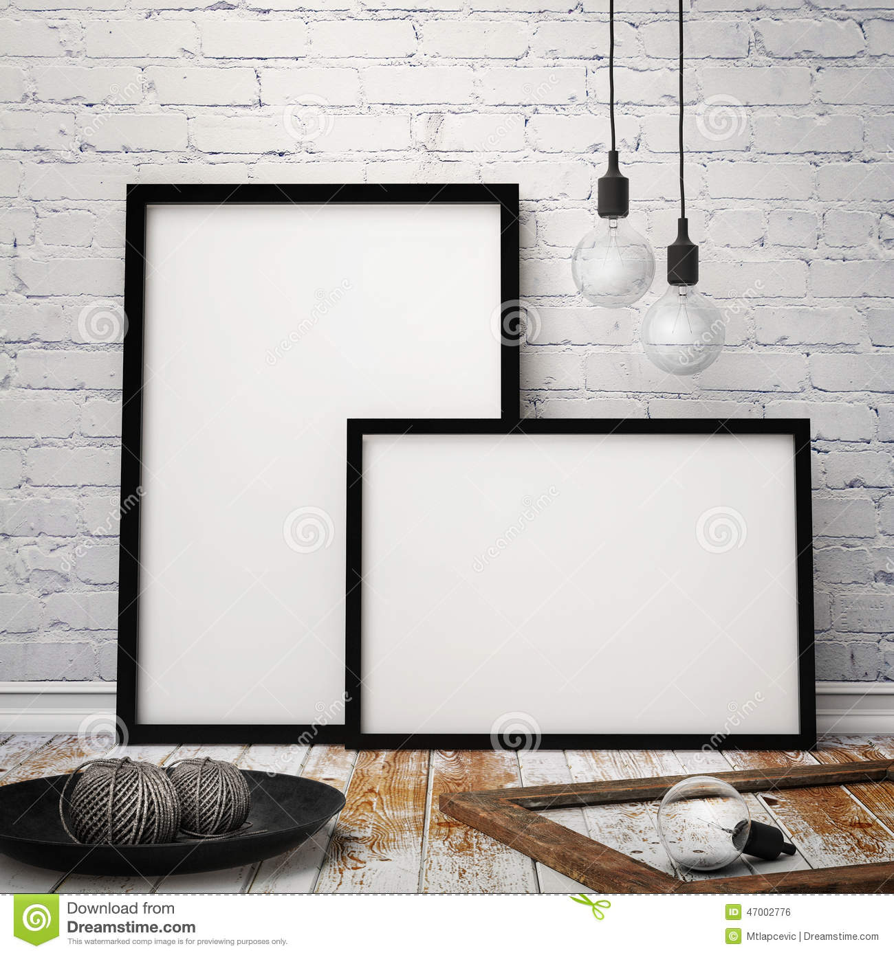 mock up posters frames with vintage hipster loft background 3d render royalty free stock image