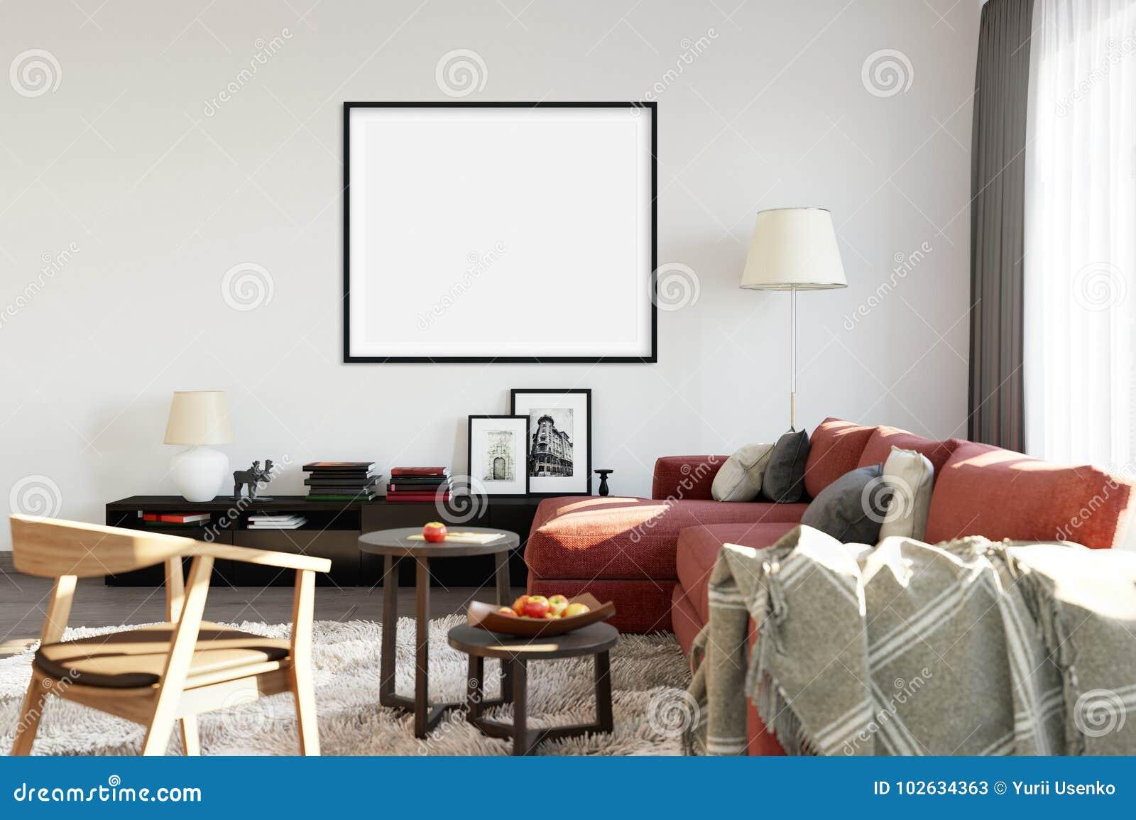 Mock Up Posters In Living Room Interior. Interior Scandinavian