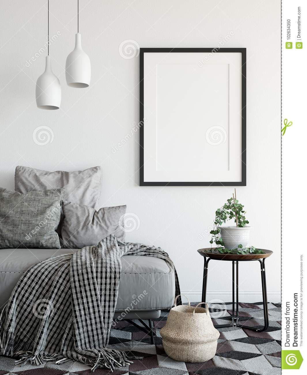 Mock Up Posters In Living Room Interior. Interior Scandinavian Style ...