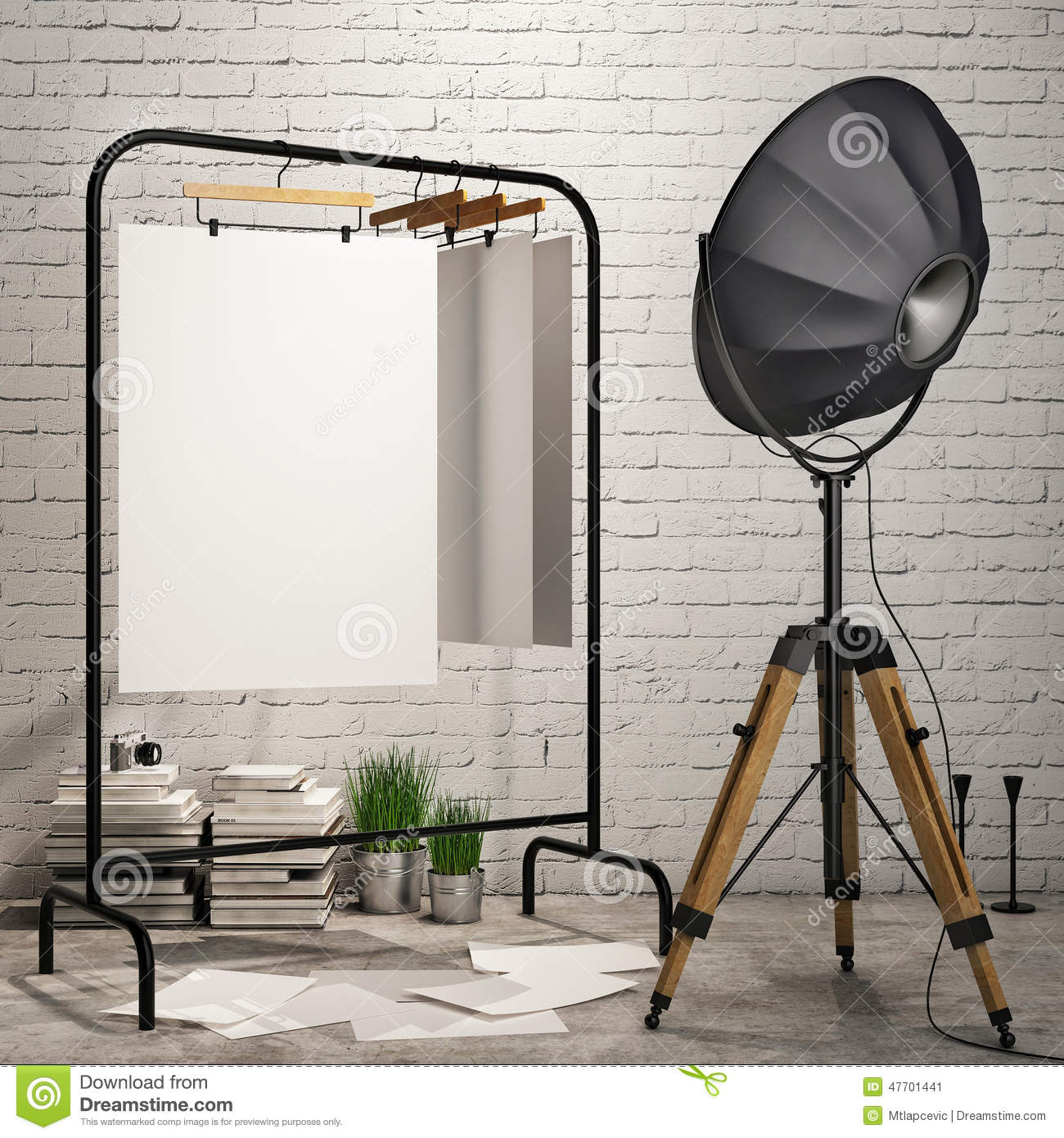 Download Mock Up Posters In Loft Interior Background With Industry Lamp Stock Image - Image of creative, interior: 47701441