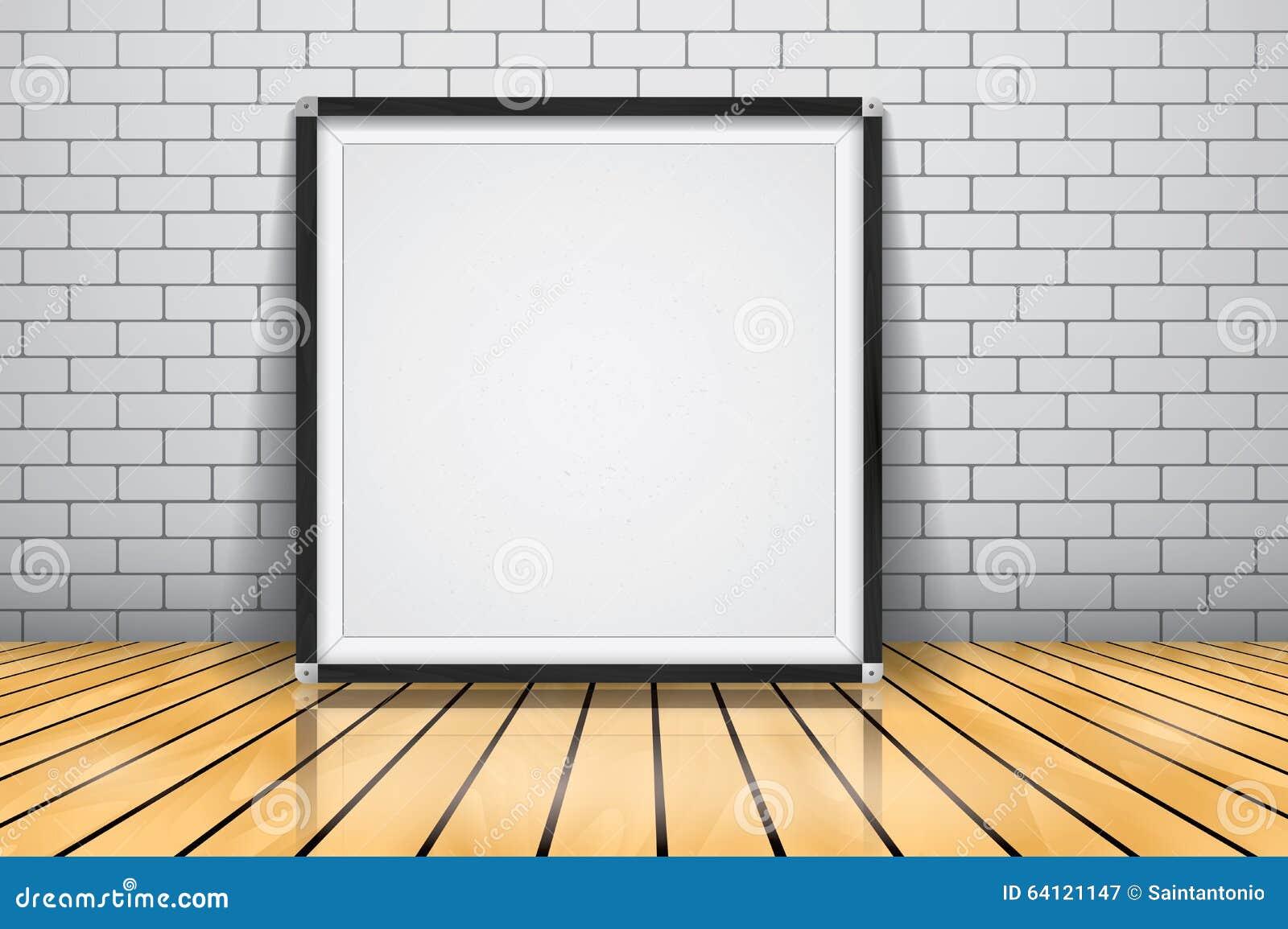 Mock Up For Presentation Framed Signboard Standing On Glossy Wooden ...