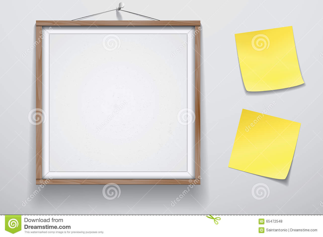 Mock Up For Presentation Framed Signboard With Two Yellow Stickers ...