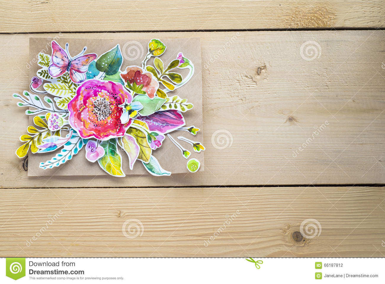 Mock Up For Presentations With Watercolor Paper Flowers Stock Photo