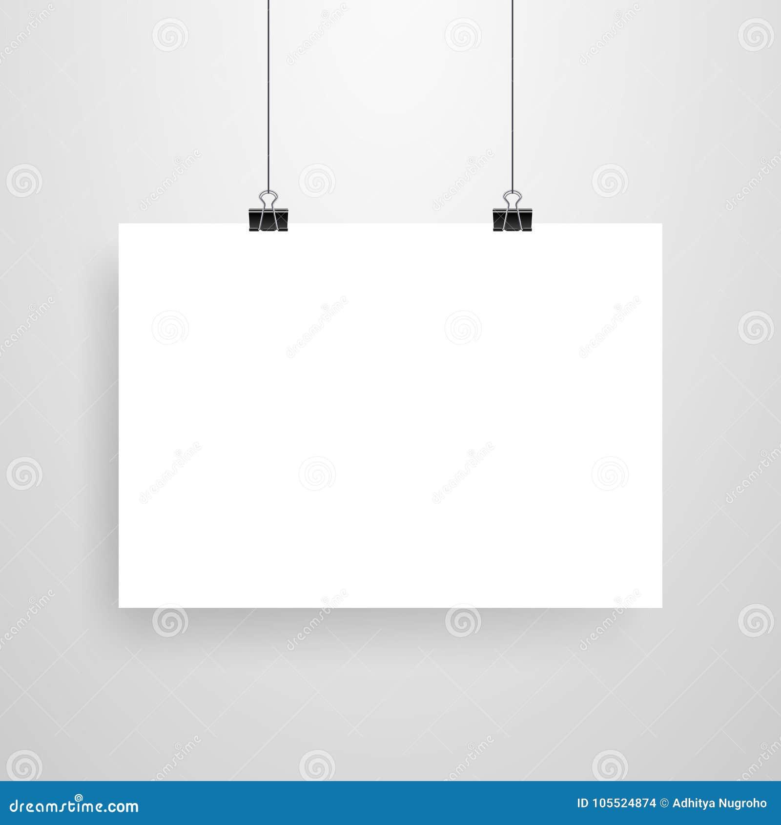 mock up realistic black poster hanging stock vector illustration