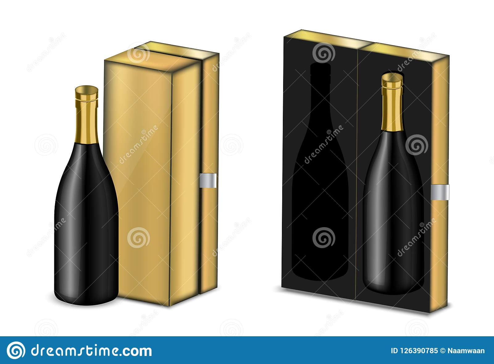 Wine Christmas Packaging.Mock Up Realistic Premium Wine Or Champagne Alcohol Black