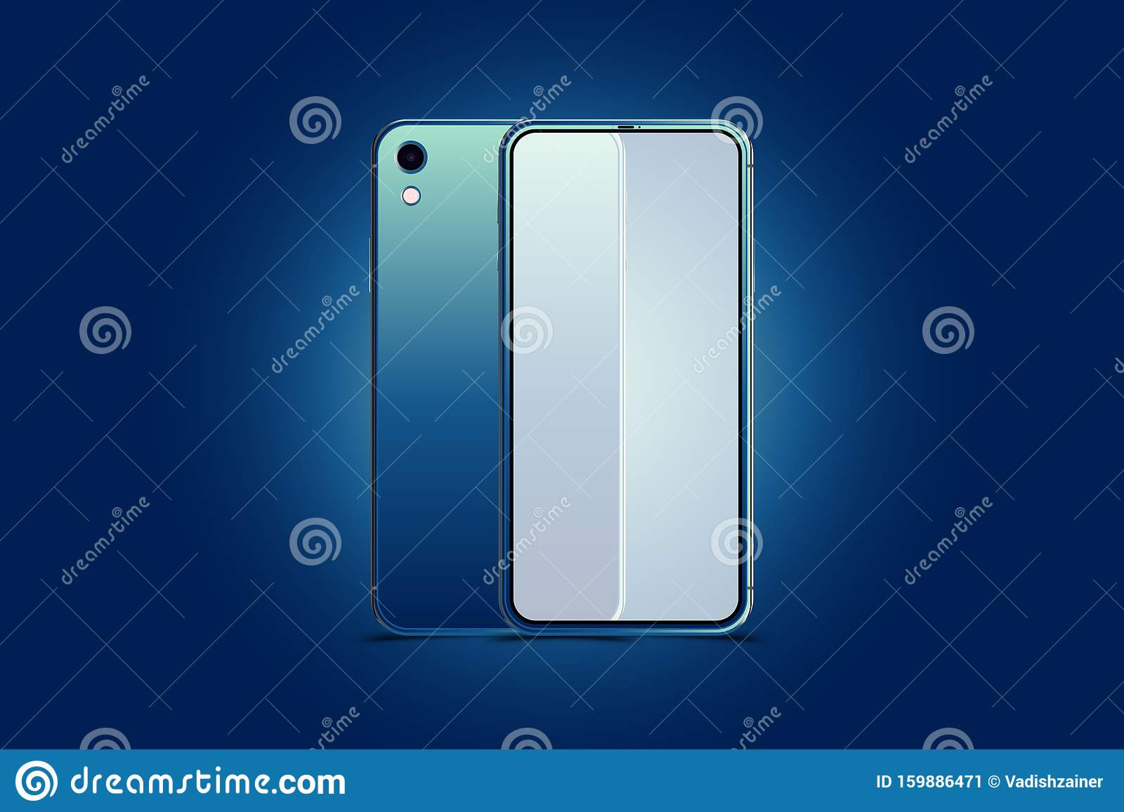Mock Up Of Realistic Smartphones New Generation Phone In Blue Colour Front Side With Screen And Back Side With Camera Isolated Stock Illustration Illustration Of Dark Business 159886471