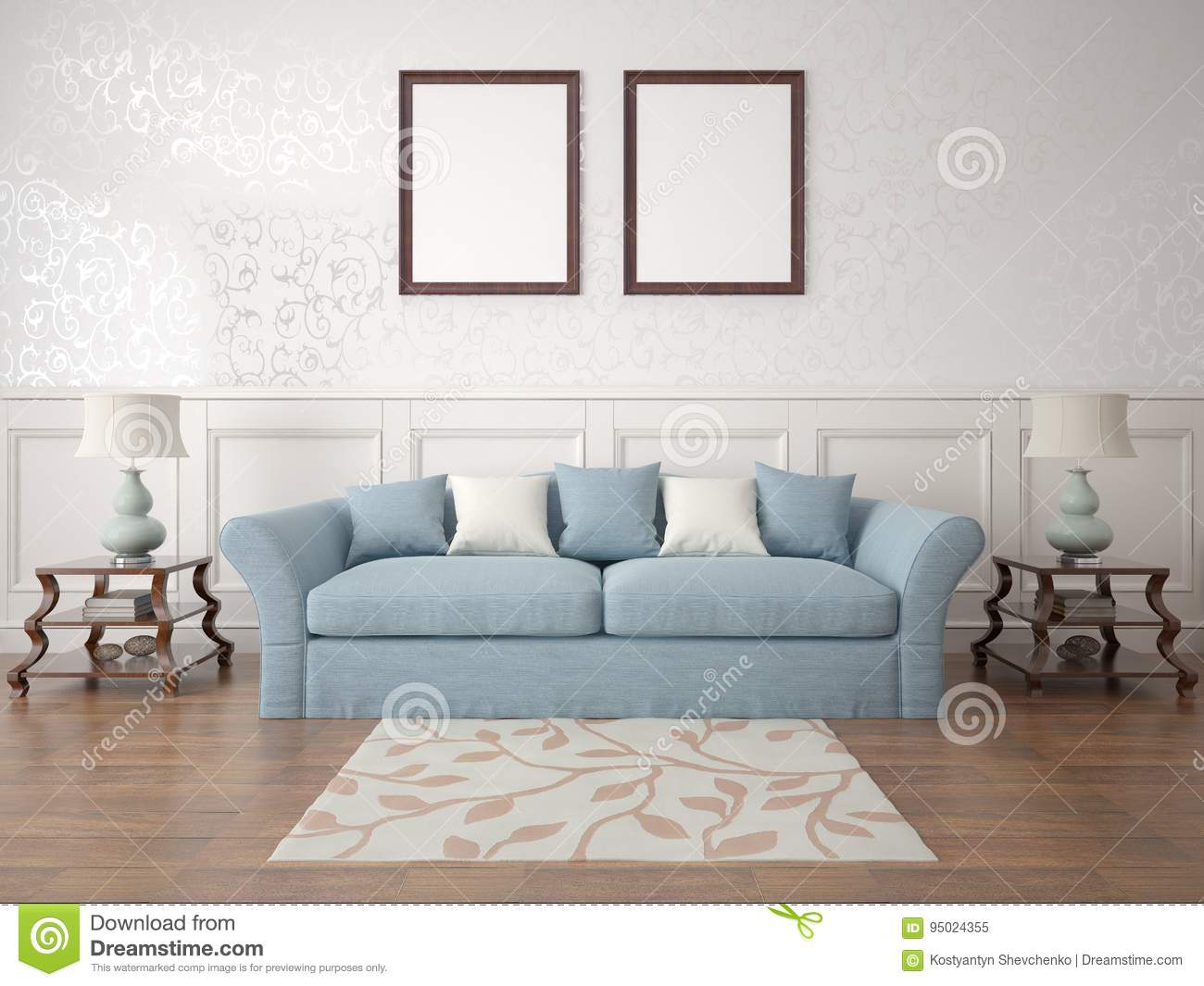 Mock Up A Retro Living Room With A Stylish Sofa Stock