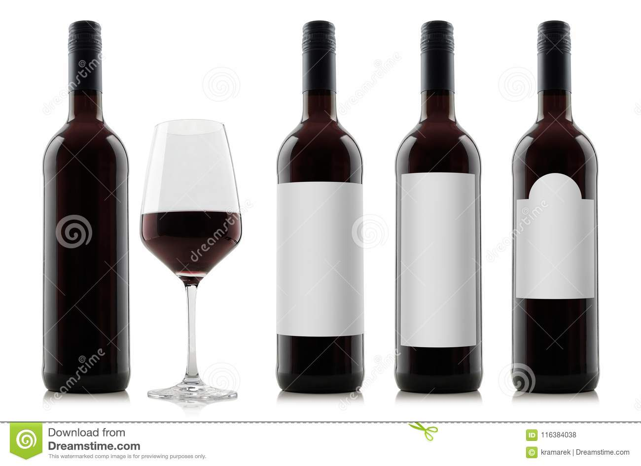 Mock-up of red wine bottles with blank white labels and a glass of wine