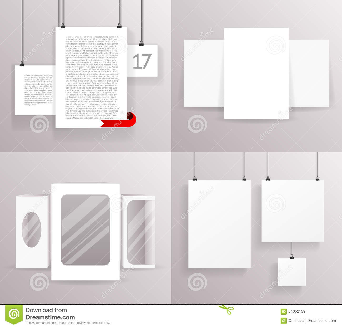 Mock Up Set Frames Boxes Paper Big Little Realistic Text Poster Icon ...