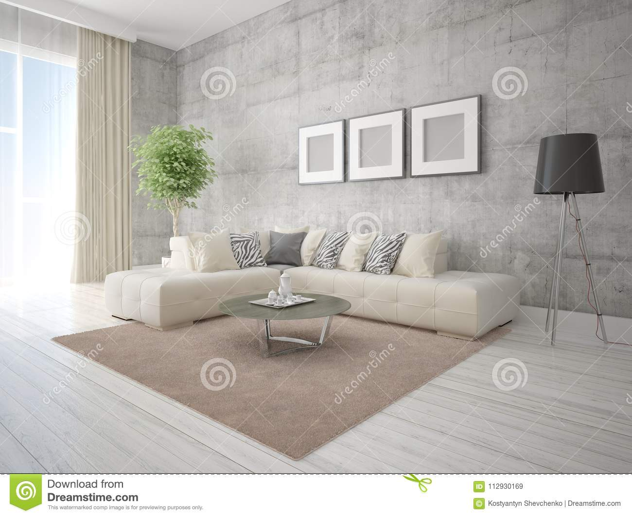 Mock Up A Stylish Living Room With Beige Corner Sofa. Stock ...