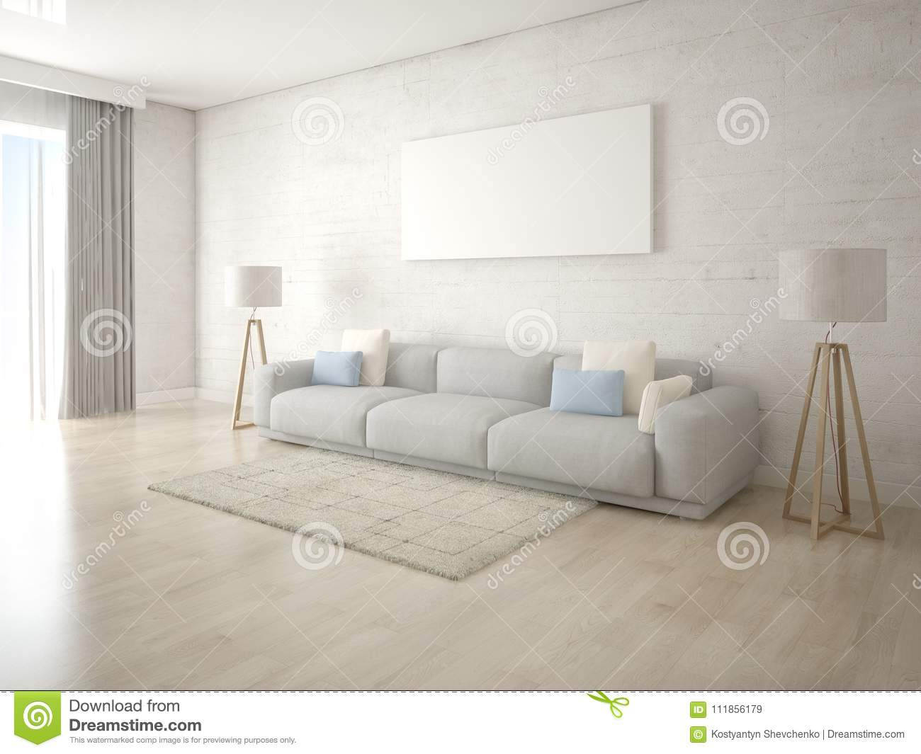 Mock Up A Stylish Living Room With Trendy Floor Lamps. Stock ...