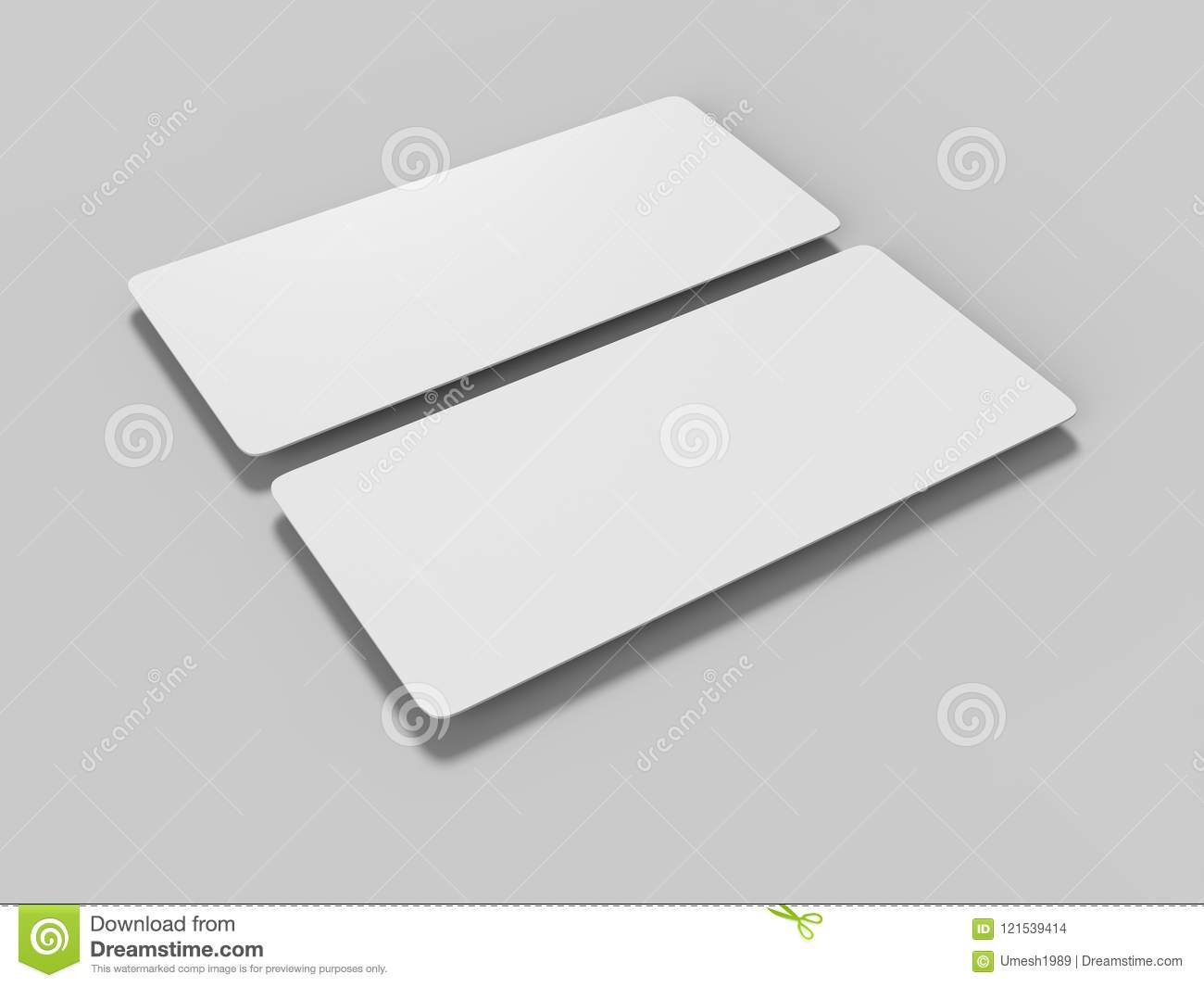 Mock Up Template Blank White Empty Rounded Corners Gift Voucher Card