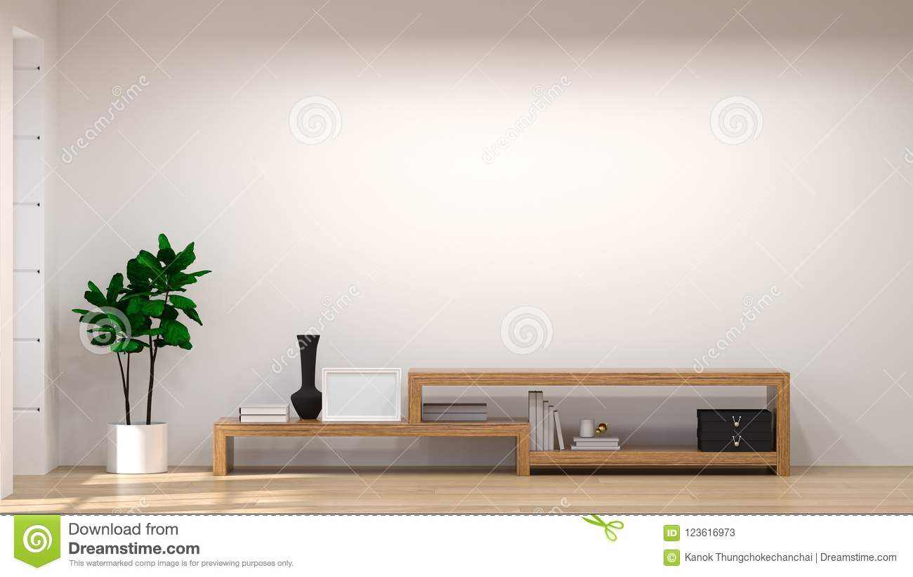 Room Background: Mock Up Template Tv Wood Cabinet In Modern Empty Room