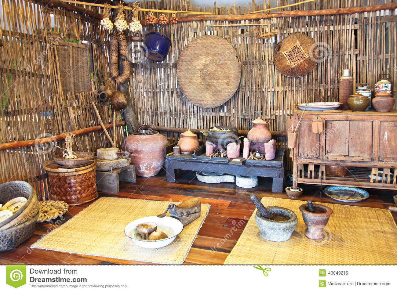 Thai Kitchen a mock-up of traditional thai kitchen stock photo - image: 40049215
