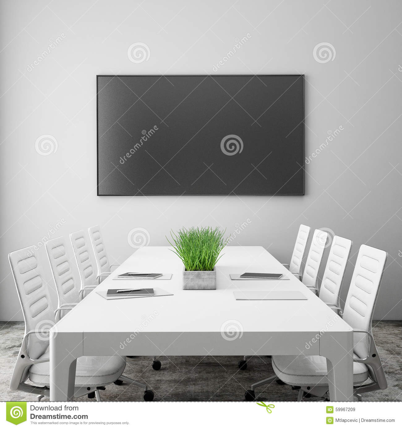 Mock Up Tv Screen In Meeting Room With Conference Table, Interior ...