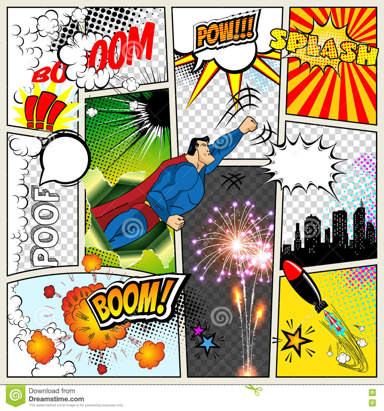 Mock up of a typical comic book page vector comics pop art mock up of a typical comic book page vector comics pop art superhero concept blank layout template with clouds beams toneelgroepblik Gallery