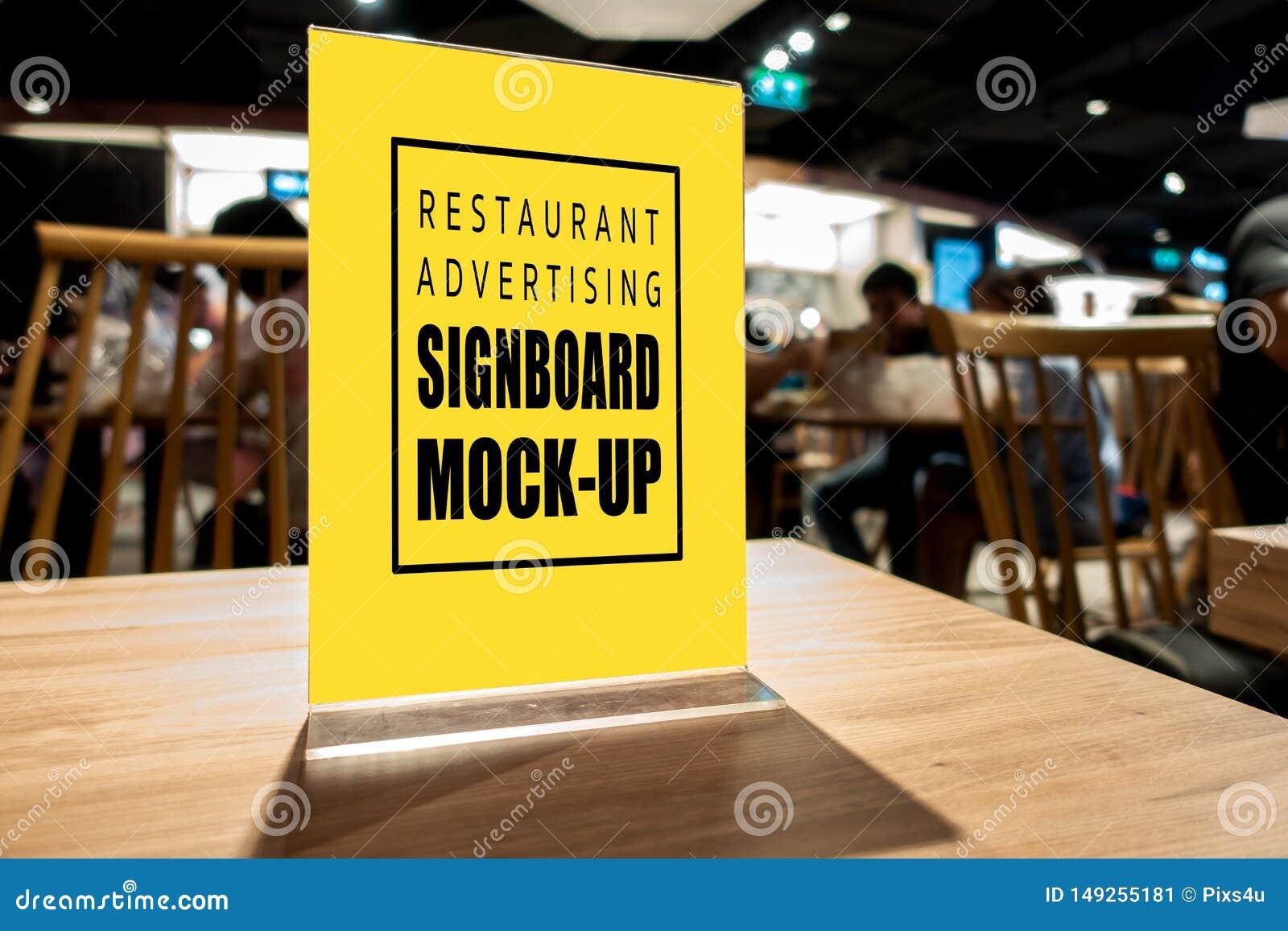 Mock Up Vertical Advertising Signboard Acrylic Frame In Restaurant