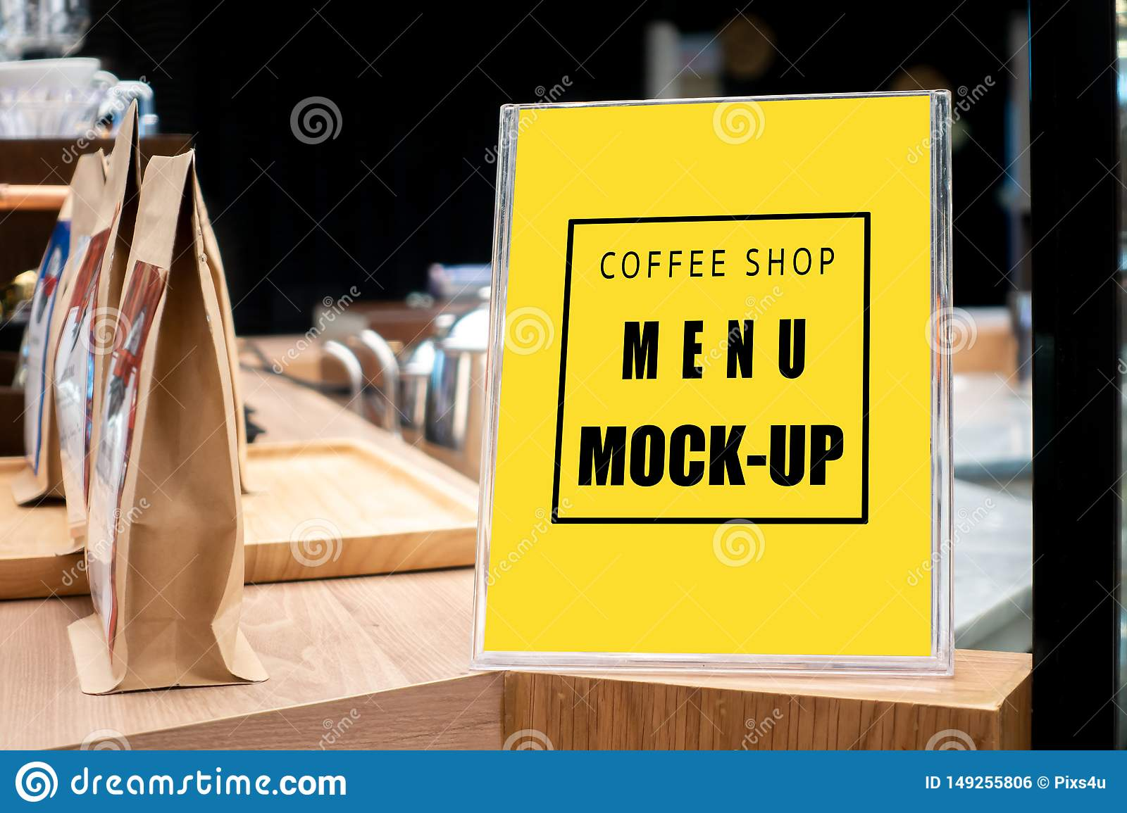 Mock Up Vertical Signboard With Acrylic Frame In Coffee Shop Stock