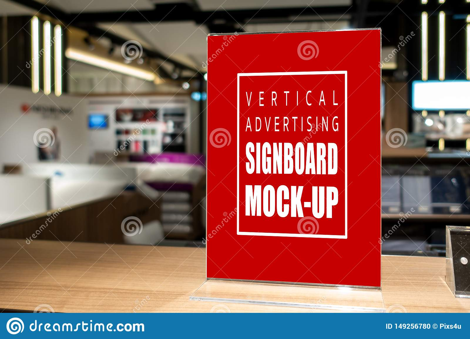 Mock Up Vertical Signboard With Acrylic Frame In Shop Stock Photo