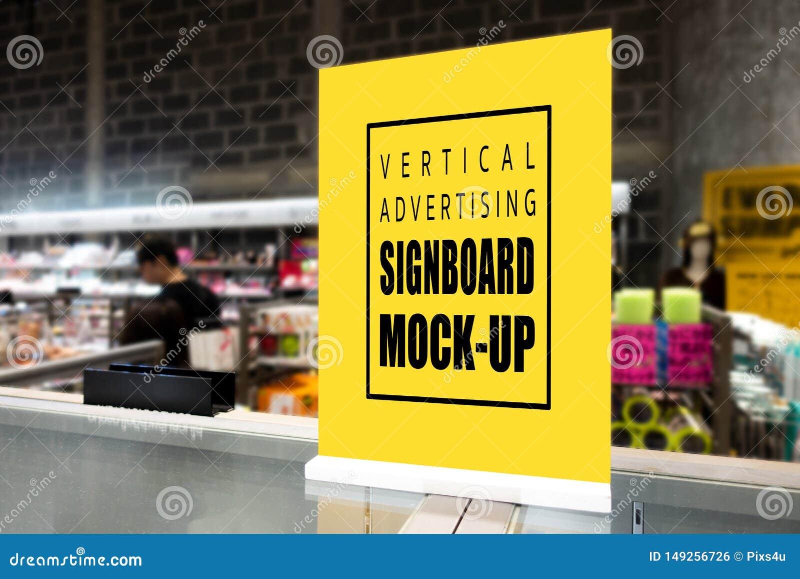 Mock up vertical signboard standing on counter supermarket