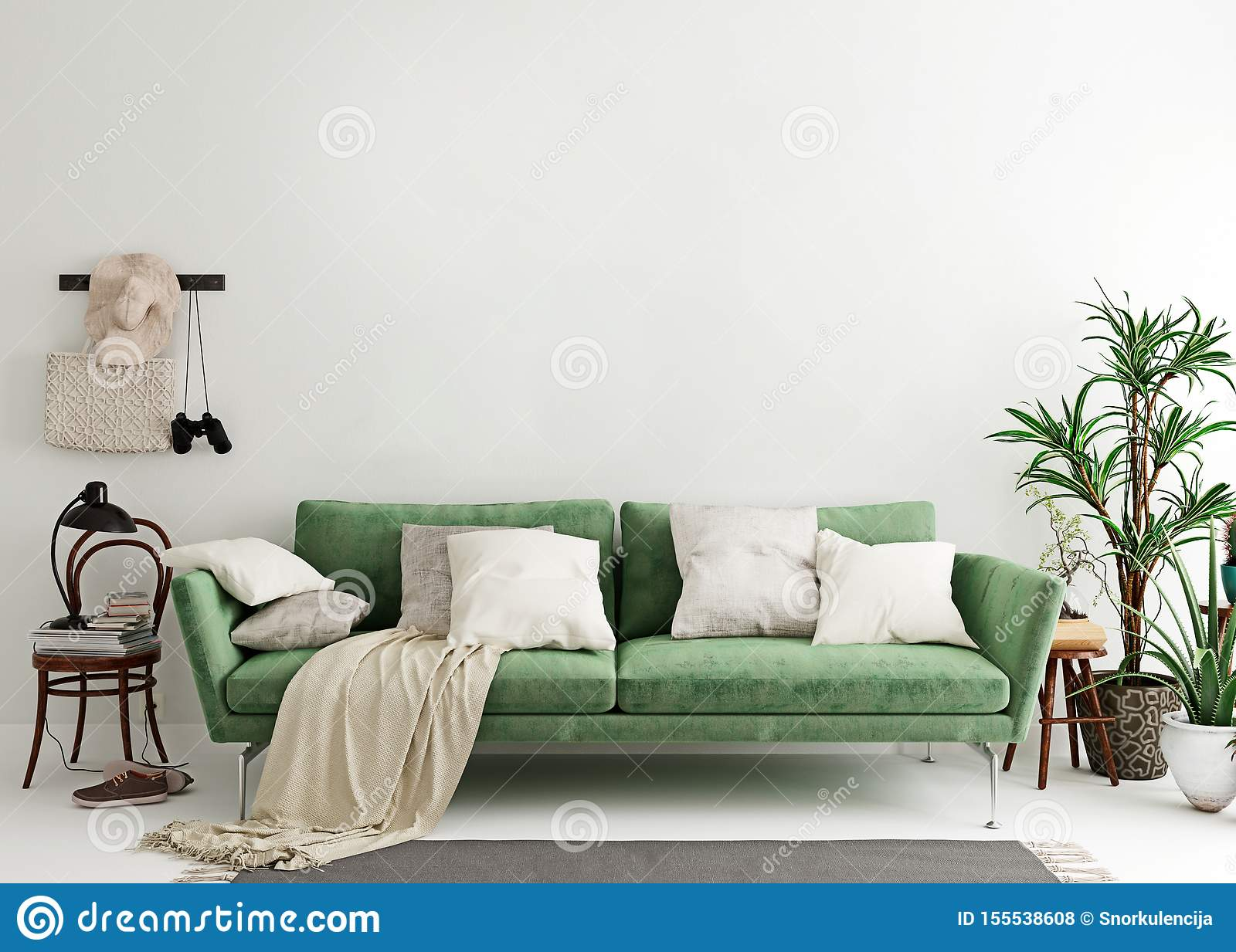 Mock Up Wall In Olive Green Modern Interior Background Living Room Scandinavian Style Stock Illustration Illustration Of Furniture Identity 155538608
