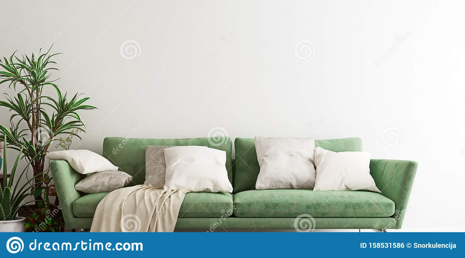 Mock Up Wall With An Olive Green Sofa In Modern Interior Background Living Room Scandinavian Style Ultra Wide Close Up Stock Illustration Illustration Of Apartment Living 158531586