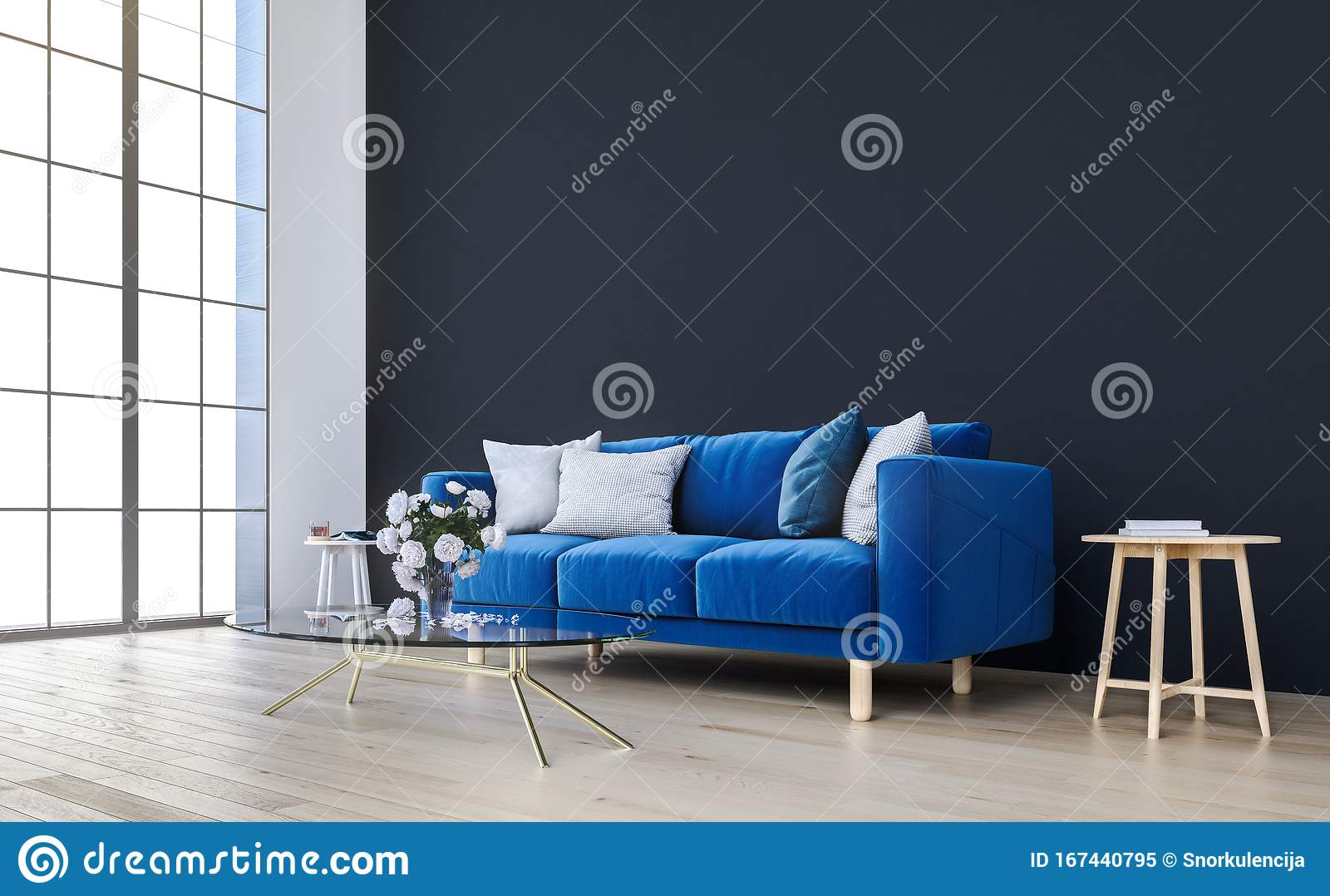 Mock Up Wall With Royal Blue Sofa In Modern Interior Background Living Room Scandinavian Style Stock Illustration Illustration Of Decor Mockup 167440795