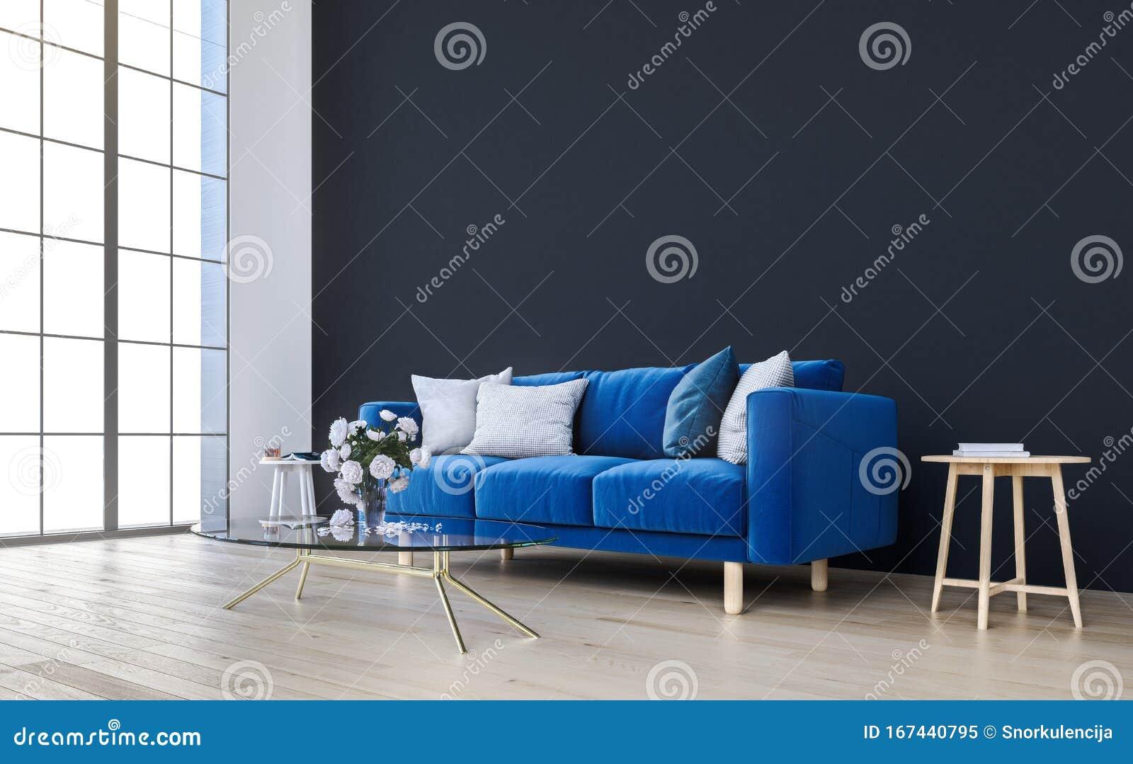 Mock Up Wall With Royal Blue Sofa In Modern Interior Background Living Room Scandinavian Style Stock Illustration Illustration Of Decor Mockup 167440795