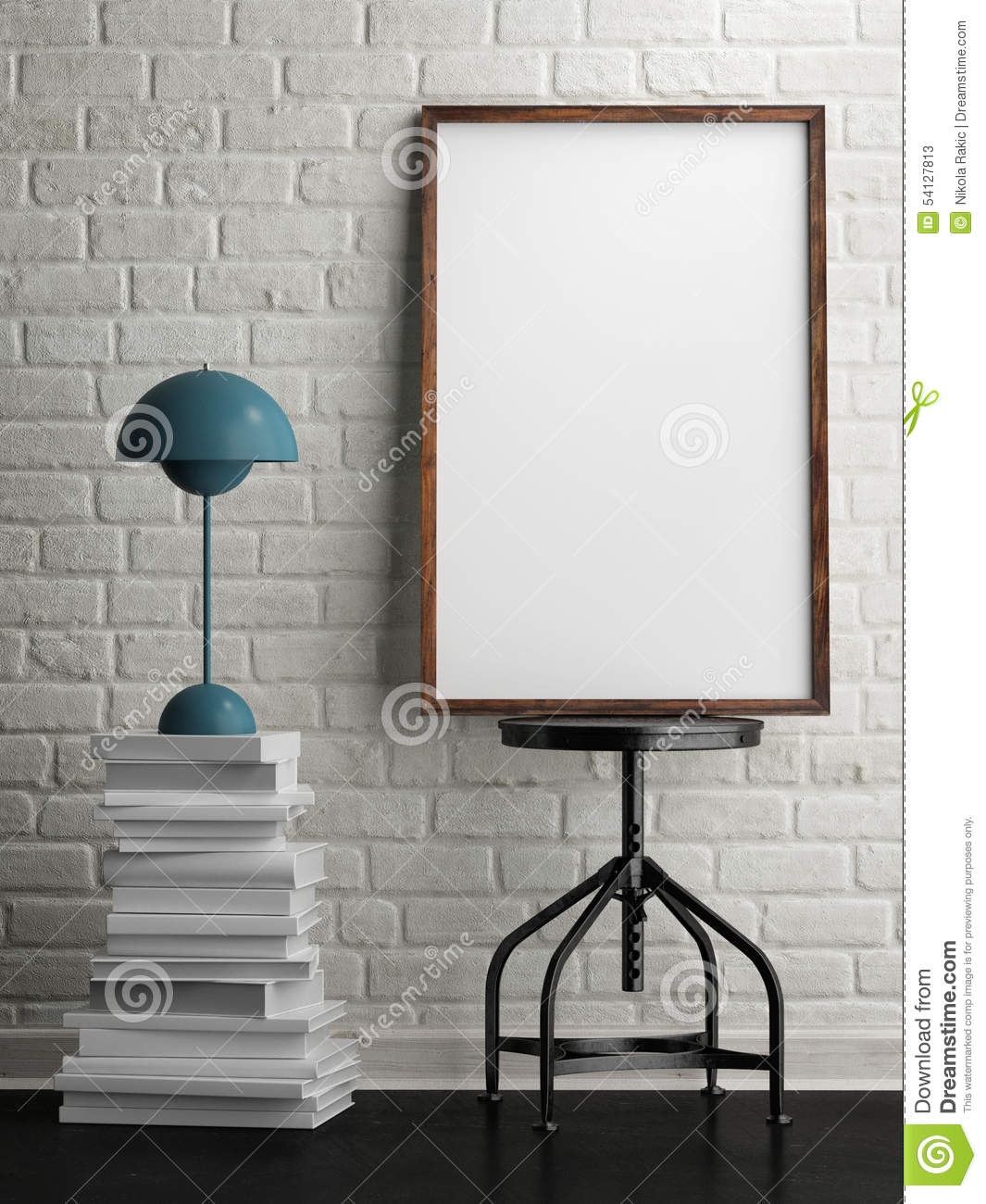 Mock Up White Frame In Room White Brick Background 3d