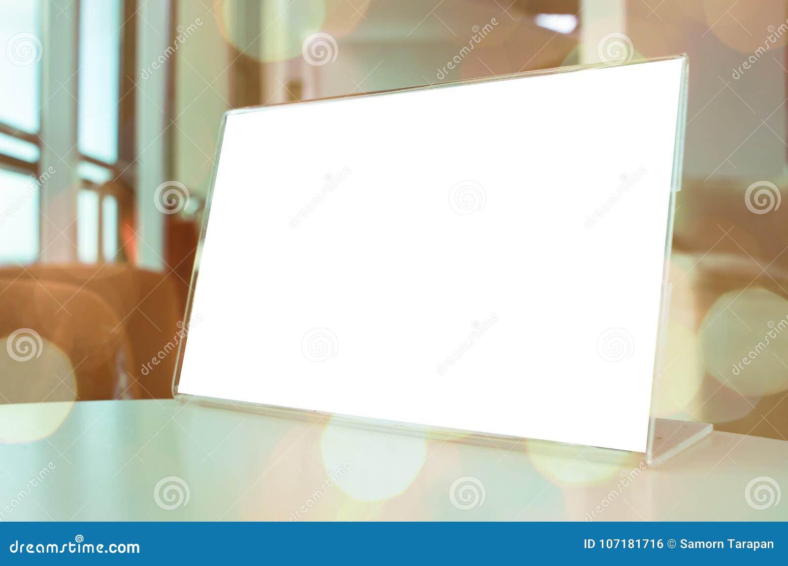 Mock Up White Label For Blank Menu Frame In Bar Restaurant Cafe ...