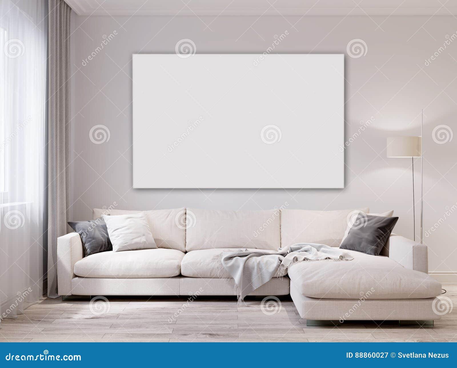 Mock up white wall modern living room interior