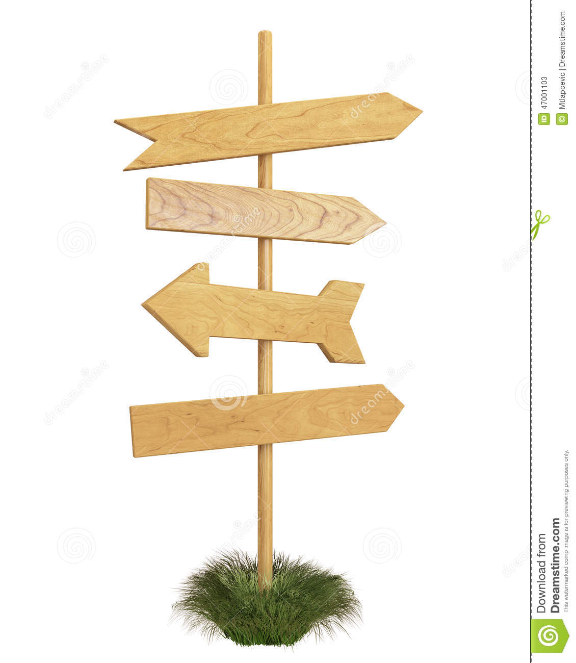 mock up wooden signpost isolated on white background stock